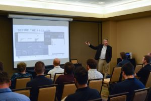 Aaron Baillio presents during a breakout session